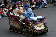 Aladdin, Jasmine, and Genie in a magic Christmas Sleigh
