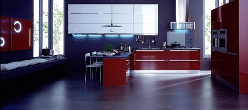 black white and red kitchen
