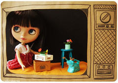 CHERRY ON TOP: TV (Sabrina Eras) Tags: television toy tv doll blythe boneca rement challenge ebony cherryontop