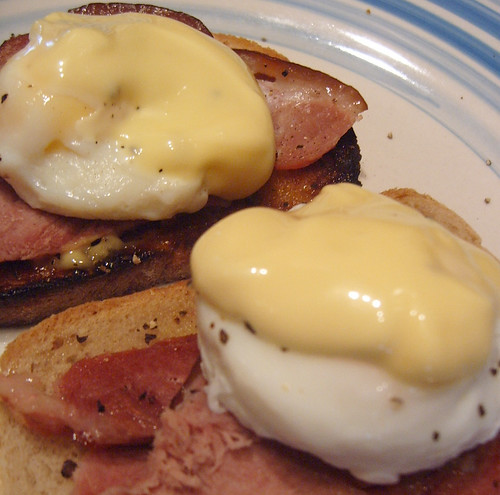 Sunday Brunch - Poached Eggs, Smoked Bacon on Toast with Hollandaise Sauce