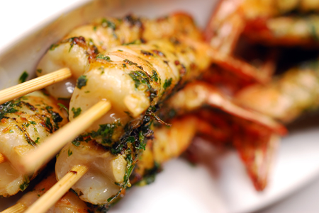 spicy skewered prawns