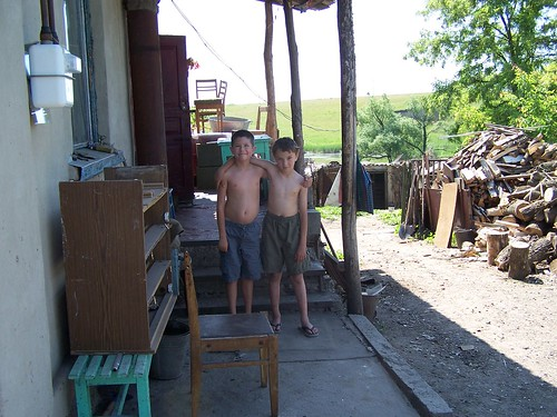 Joshua and Maxime in his grandmother's village
