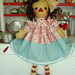 Aqua Red Retro Primitive Raggedy Ann Doll Rick Rack