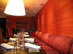 Macu restaurant, Helsinki. (blind_donkey) Tags: light red lamp finland table restaurant design helsinki interior sofa interiordesign tablesetting