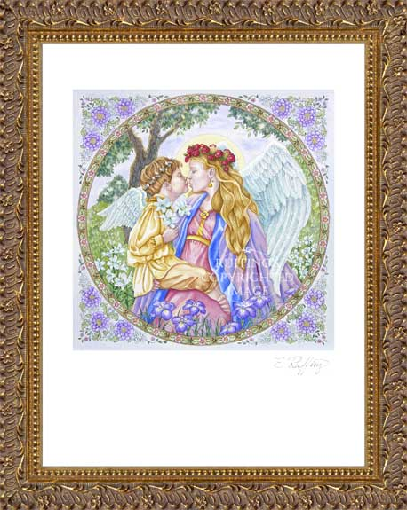 """Angels' Kiss"" ""Peace and Love"" ER11 by Elizabeth Ruffing, Print Framed"