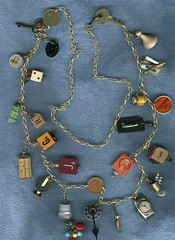 Found Objects Jewelry Workshop (takeabreak) Tags: collage necklace beads watch jewelry thimble scrabble domino bingo gamepieces alterednecklace