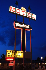 The Tomahawk Motel (Great Beyond) Tags: road travel signs tourism sign night digital canon way eos rebel high highway scenery kiss colorado neon open view side scenic motel roadtrip tourist retro hwy nighttime views americana lonely neonsign roadside dslr cortez afterdark oldsign xsi motelsign tomahawk the x2 oldsigns loneliest loneliestroad 450d ontheopenroad canoneos450d tomahawkmotel canoneosdigitalrebelxsi kissdigitalx2canon noticings