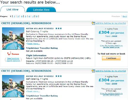 Holiday search results - list view