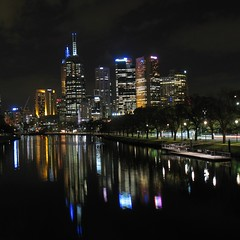 Good Night Everybody ([Jongky]) Tags: light black water night lite australia melbourne serenity goodnight yarra lamps nite yarrariver refflection