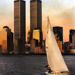 world trade center (Frizztext) Tags: newyork sailboat scanner manhattan worldtradecenter 1996 galleries chapeau wtc minoltaaf7000 frizztext masterpiecesoflightanddark 2008722