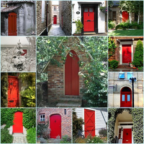 Red Front Doors | Candy Hearts and Paper Flowers