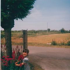 Little Woman I (scodellina) Tags: flowers roses dog white black girl vintage child country checks redold dressblackwhiteredold