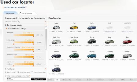 VW used car search options