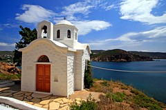 Sea and chapel, Patmos island (Marite2007) Tags: travel sea seascape church nature water architecture facade landscape outside greek temple islands coast scenery mediterranean skies outdoor country religion shoreline aegean scenic churches hellas chapel nobody location greece coastal environment daytime isolation lovely shores picturesque idyllic peacefulness patmos dodecanese