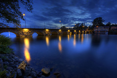 Motala (diesmali) Tags: bridge blue sky yellow river lights evening sweden sverige hdr motala stergtland sigma1020mmf456exdchsm johanklovsj