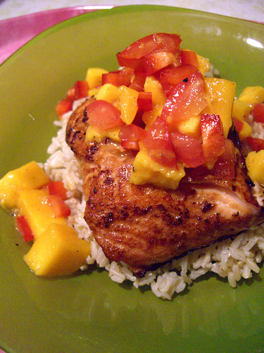 Salmon with Island Salsa