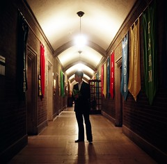 These Hollowed Halls (Js) Tags: light toronto mediumformat square alone doors vivid hallway lone banners uoft yashicamat124g kodak400vc harthouse 400vc schoolisnowinsession thiswastakenonthe5th