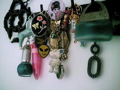 Charmed (pookiebf) Tags: inspiration cute alien kitsch collection nostalgia harajuku kawaii owl collectables ursula charms ellegirl pollypocket nailvarnish keyrings annasui locket ladyluckrulesok