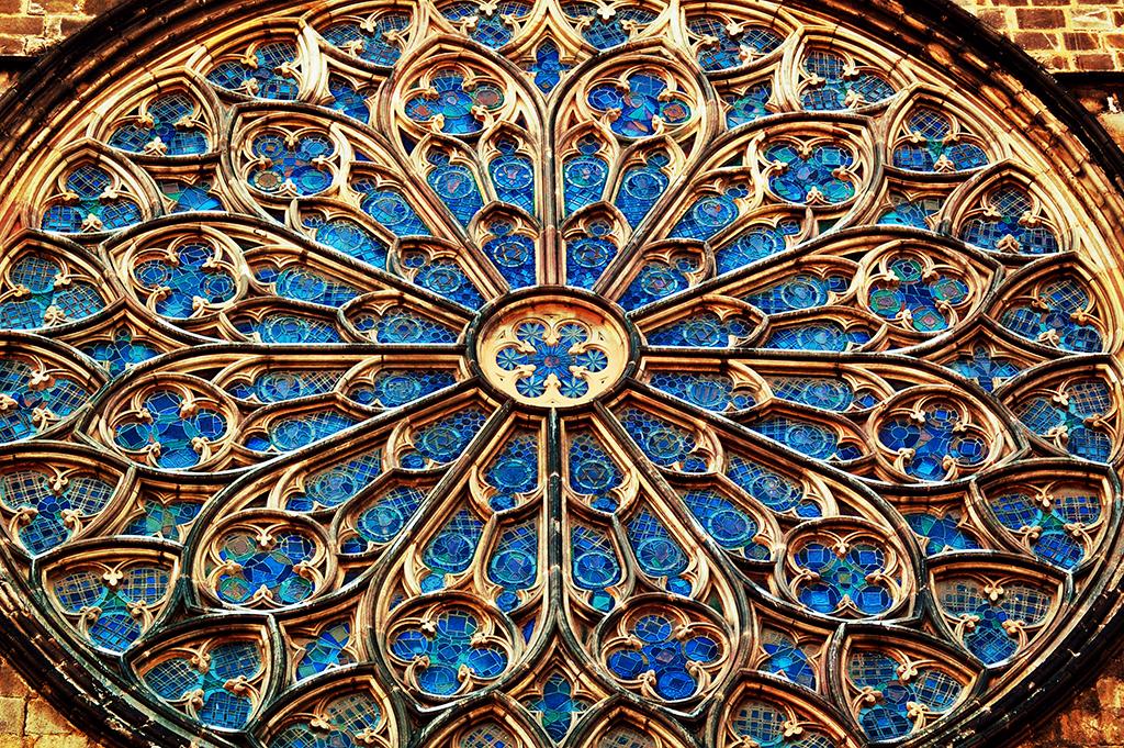 Rose Window Santa Maria Del Pi Church Barcelona