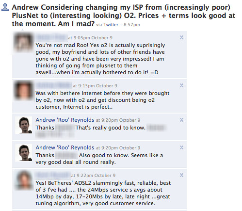 Facebook responses re ISP question