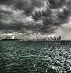 Thunderstorm Over Manhattan (Joe Chiapputo Photography) Tags: road new york city trip blue sea sky cloud ny storm black never green water car weather ferry dark liberty island shower grey high scary day view sleep ominous manhattan tide gray bad overcast transportation thunderstorm lightning suv heavy pour thunder seas bluegreen downpour inclement burrough msh1208 afpov therebeastormabrewin msh12087