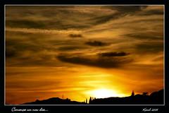 Comena un nou dia // Empieza un nuevo dia (carolina b. (Karol)) Tags: barcelona sunset sky orange sun sol cel catalonia explore cielo catalunya puestadesol maresme naranja siluetas karol taronja postadesol santvicendemontalt siluetes