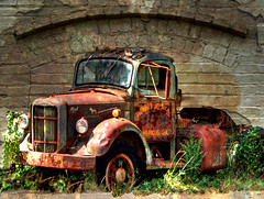 Another Mack in the Wall (Patrick Henson) Tags: brick texture truck brickwall hdr macktruck excellentcapture