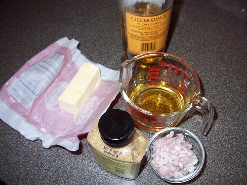ingredients for whiskey mustard shallot sauce