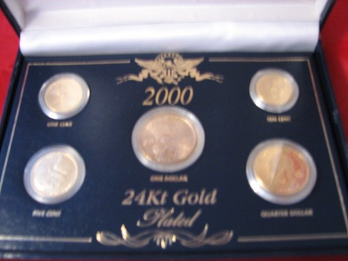 Coins 24kt gold plated 5 sets