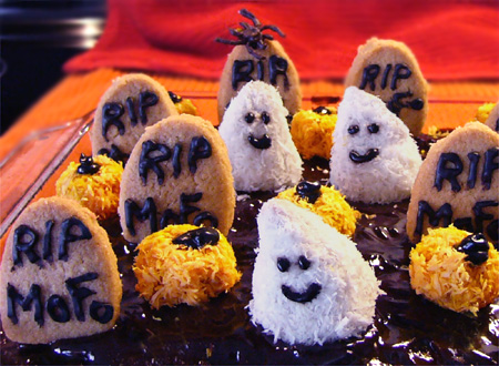 Halloweegan Graveyard Cake