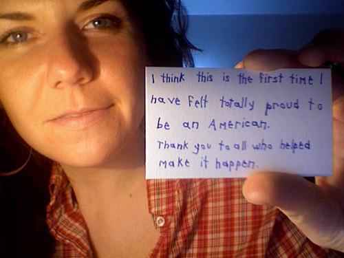 Mujer con orgullo por Obama
