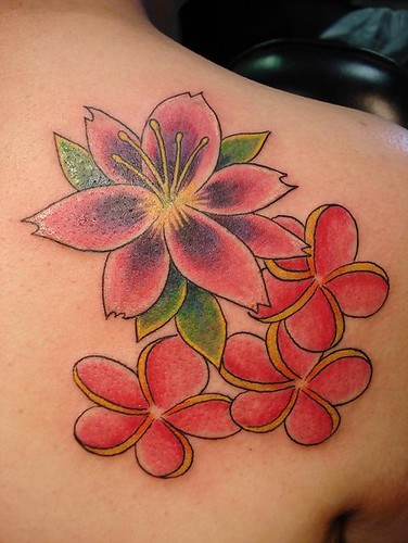 Lily and Plumeria Flower Tattoos,tattoos,tattoo designs