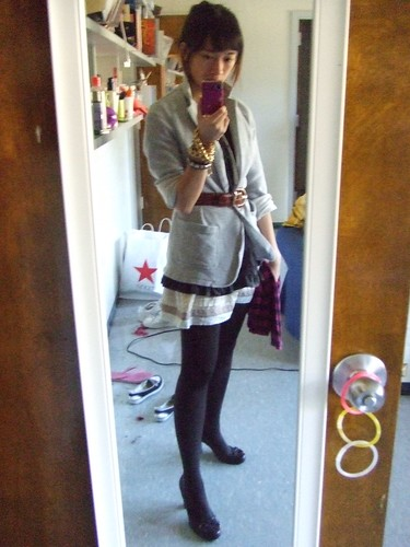 Brown Tights, borrowed fron Jen-Jen; Gray cotten Jacket, Gap; Gray Ruffled Shirt, Simple Vera by Vera Wang; Ivory skirt, bought in CO; Brown Loafer Pumps, Marc Fischer; Striped Purple scarf, Gap; Gator Cinch Belt, my Moms