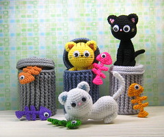 Alley Cats (stripeyblue) Tags: cats pattern crochet kawaii amigurumi