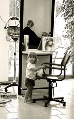 At the Hairdresser (Daria Angeli) Tags: people bw reflections details mirrors hairdresser blackdiamond emptyseats otw flickraward spiritofphotography