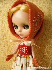 orange Hood and Mittens set