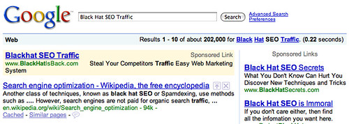 Blackhat SEO Ads on Google