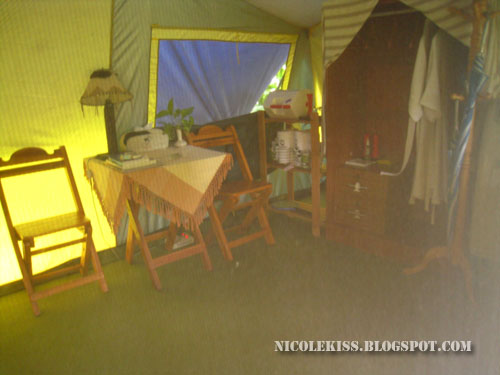 cabinet and dressing table in a tent