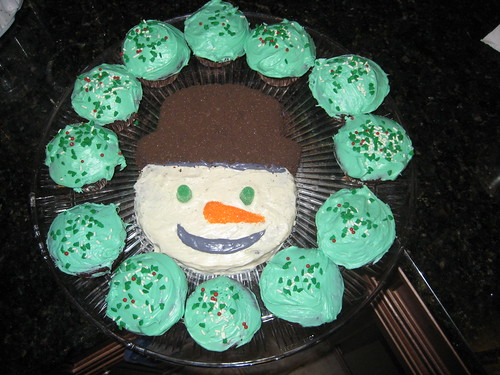 Snowman cake for Kelly's Christmas office party