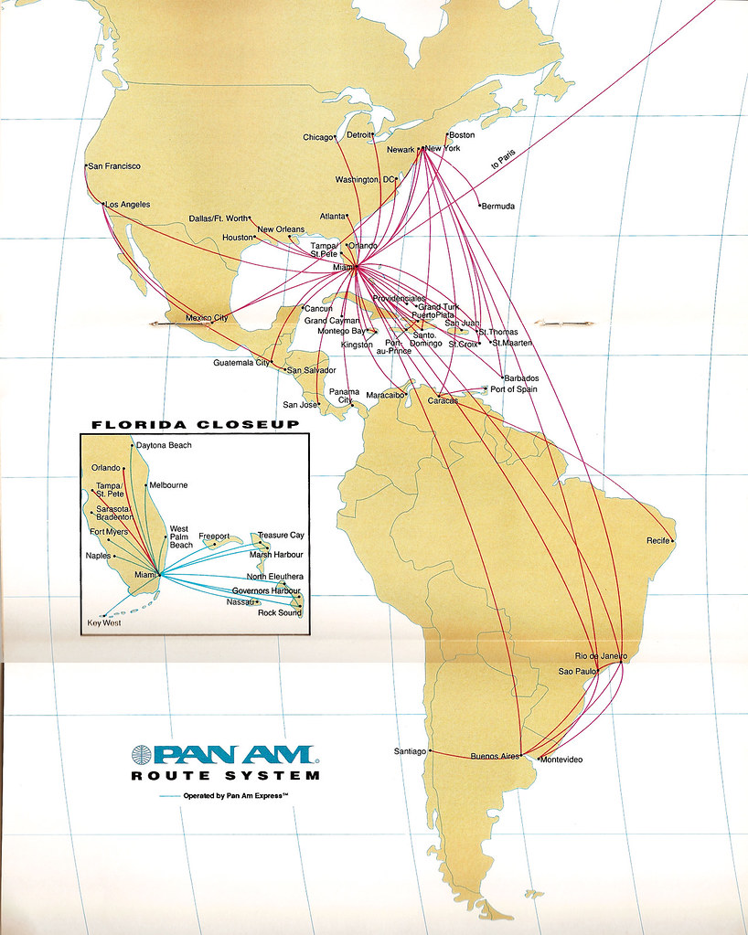Pan Am last route map