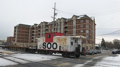 Old 1970's era Soo Line wid vision caboose. Franklin Park Illinois. December 2008.