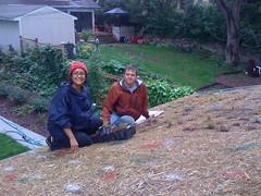 ML and GL pose between plantings, again (gmantv) Tags: minnesota garage greenroof