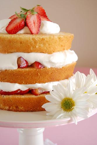 Sky high strawberry shortcake / Bolo de camadas com morangos e chantilly