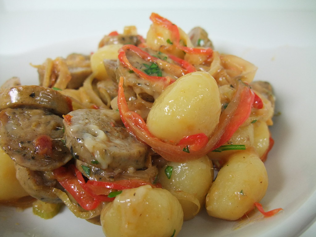 Gnocchi with Chicken Sausage, Bell Pepper and Fennel