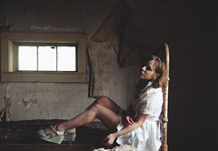 (yyellowbird) Tags: house selfportrait abandoned girl wisconsin bedroom lolita cari bedframe whitedress