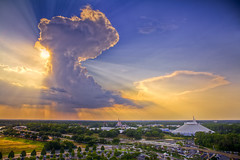 Sunburst cloud above Magic Kingdom, Disney World, Orlando (Lisa Bettany {Mostly Lisa}) Tags: sunset cloud castle clouds orlando disney disneyworld sunburst magickingdom spacemountain contemporaryresort mostly365