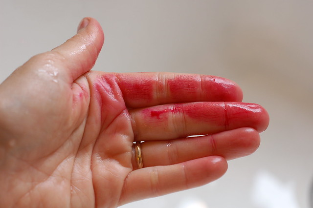 Beet Blood on my Hands by Eve Fox, Garden of Eating blog, copyright 2011