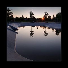 flood water in skateboard ramp (stella-mia) Tags: sunset sun reflection norway evening flood hamar eveninglight flom 2470mm hightlight koigen canon5dmkii
