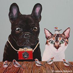 Pepa ,Alaska y los micmics (retales botijero) Tags: camera art alaska cat vintage arte retrato pop gato camara mascota pintura pepa retales perruna botijero