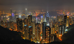 The Peak! (pompidom) Tags: china longexposure urban skyline architecture night hongkong asia cityscape view skyscrapers thepeak hongkongisland victoriapeak d300 tokina1224mm top20flickrskylines pompidom
